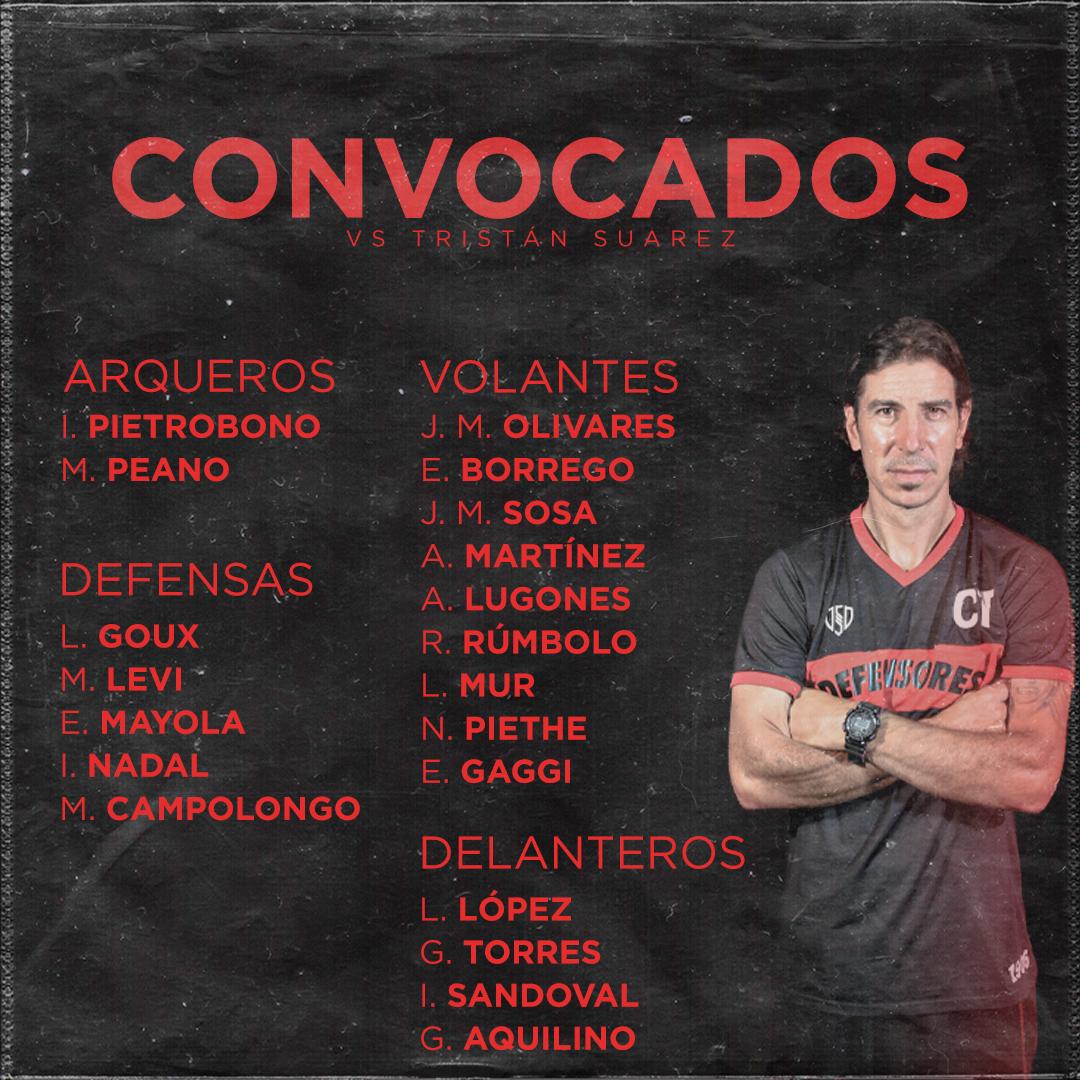Lista de convocados vs Tristán Suárez