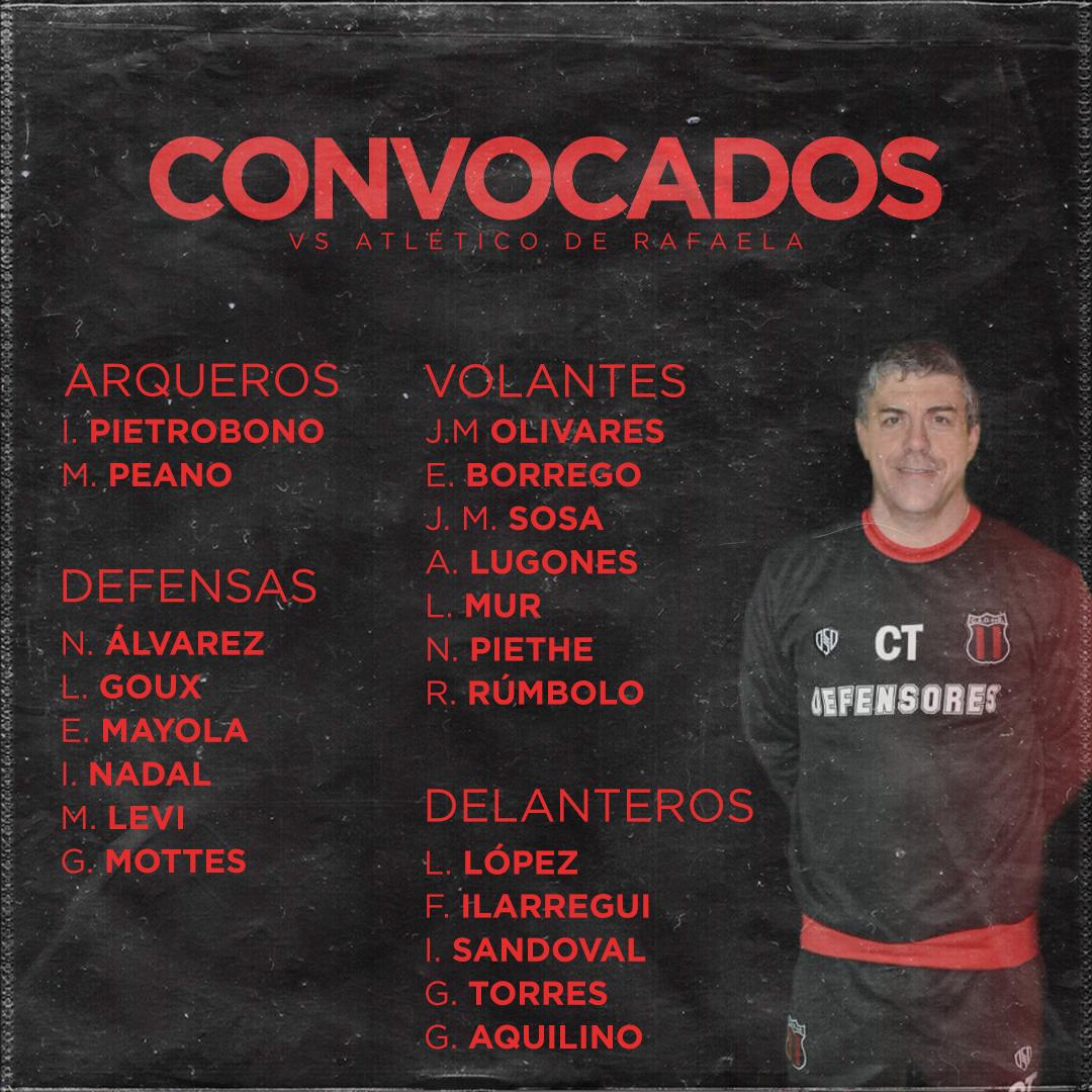 Lista de convocados vs Atlético Rafaela